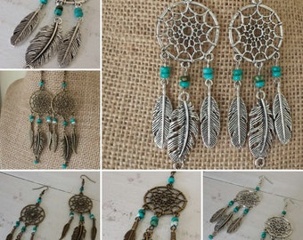 Long Feather Dreamcatcher Dangle Earrings, Silver or Bronze Turquoise Dream catcher Earrings, Feather Earrings Dreamcatchers, Boho Earrings