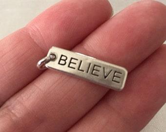 Believe sterling silver charm pendant
