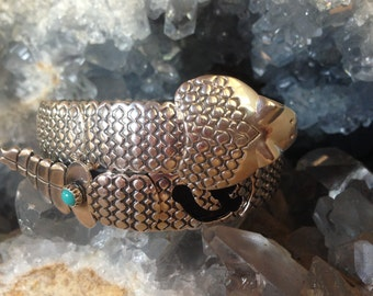 Rattlesnake Bracelet - Sterling Silver with Turquoise or Your Choice Stone