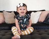 Baby Leggings, NEW Mustard and Cream Stripes, Light-weight Cotton Leggings by The Little Spoons