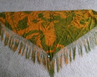 Gold and Green Silk Tye Dyed Hip Scarf or Shawl