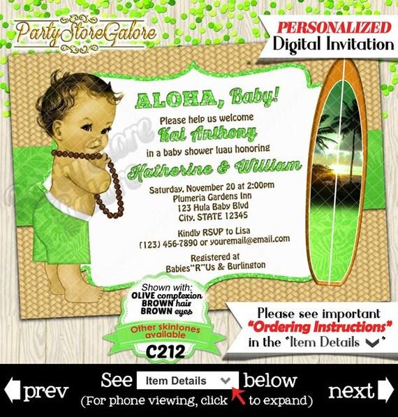 Hula Baby Boy Baby Shower Invitation Hawaiian Luau Surfboard