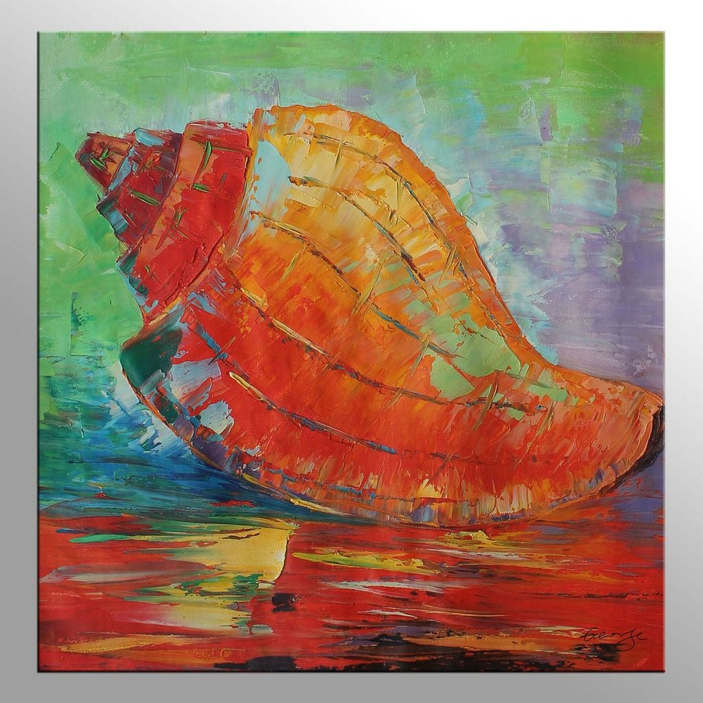 Sea Shell Living Room Wall Decor Original Artwork Large Canvas