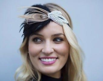 1920's Rhinestone Flapper Headband, Bridal Head Piece, 1920's Flapper, Wedding Headband, Bridal, Ribbon, Great Gatsby, Rhinestone Headband,