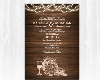 wine wedding invitation diy printable digital file or print extra vineyard wedding invitation winery - Winery Wedding Invitations