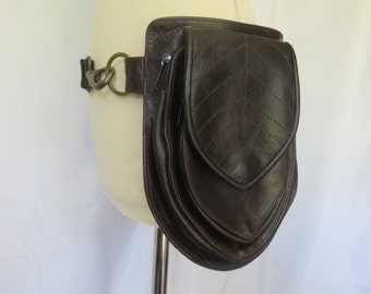 Festival Utility belt  in brown leather -  Leaf Pouch