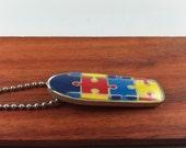 Autism Skateboard Pendant, Autism Jewelry, Autism Awareness Necklace, Autism Awareness Jewelry, Autism, Puzzle Piece Jewelry,