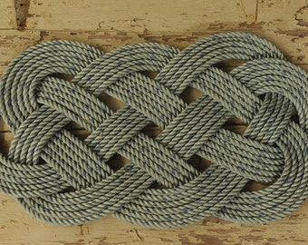 """Crab Rope Rug - Blue Rope Rug - Nautical Decor - Outdoor Rope Rug - 34"""" x 18"""""""