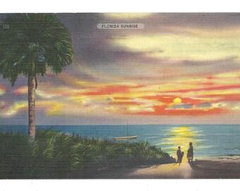 Florida Sunrise   1940's Postcard