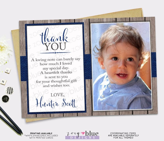 Boy birthday thank you card navy blue rustic wood birthday baptism il570xn bookmarktalkfo Image collections