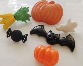 SALE!***6 Halloween Buttons Fall Autumn Bat Pumpkin Indian Corn Taffy Ghost Buttons