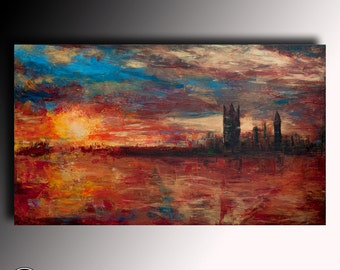Landscape Painting Abstract Acrylic Painting Canvas Modern Original textured Painting Modern expression large Wall Art painting Anna Bulka