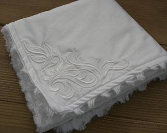 White Cotton and Minky Mini Baby Blanket...Embroidered Minky Baby Blanket For Boy Or Girl