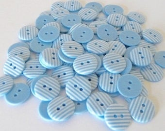 10 x 15mm Pale Baby Blue Stripe Buttons