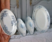 Set of 4 antique French blue transferware oval serving platters and side dishes. Mismatched shabby chic plates.