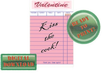 Diner Check Valentine Card Kiss the Cook Pink Party Tag Scrapbook File