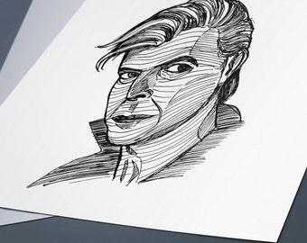 David Bowie Line Drawing Portrait Print