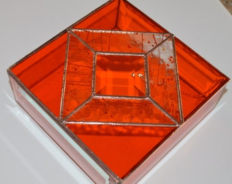 Stained glass hinged lid jewlery box