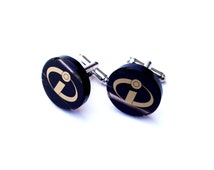 Incredibles logo cufflinks made of natural obsidian   in the gift box and ready for gift giving   natural stone cufflinks