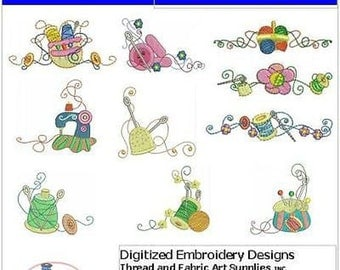 Embroidery Design CD - Sewing Tools(1) - 10 Designs - 9 Formats - Threadart