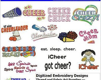 Embroidery Design CD - Cheer(1) - 14 Designs - 9 Formats - Threadart