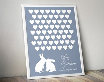 Wedding Guest Book Alternative - Signature Poster - Kissing Rabbits