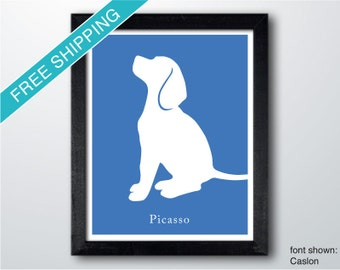 Personalized Beagle Silhouette Print with Custom Name (version 3)