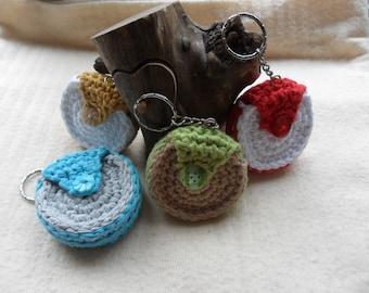 Round Lip balm key chain - crocheted, handmade, key rings