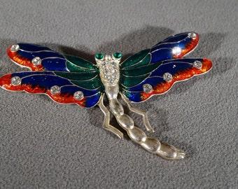 Vintage Silver Tone Multi Round Clear Emerald Green Rhinestone Multi Colored Enameled Dragon Fly Bug Design Pin Brooch #739    **RL