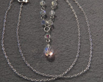 Vintage Sterling Silver Breathtaking Lavaliere Style Necklace with Aurora Borealis Beads!~~ **RL