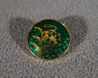 Vintage Yellow Gold Tone Fancy Emerald Green Enameled Asian Style Button Jewelry **RL
