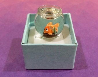 Pet Goldfish Ring - Pets Fish Bowl Kitschy Cute Funny Gift Quirky Go Fish Orange Gaudy Gifts Petsmart Petco
