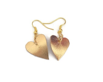 Gold Leather earrings, Unique handmade hearts jewellery, surprise for bridesmaids on my wedding day, from granny to grand daughter