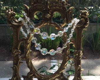 Vintage Aurora Borealis Necklace and Bracelet Set