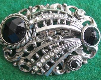 Original 1960's Silver Tone Comet Brooch Pin With Black Rhinestones - Free Shipping