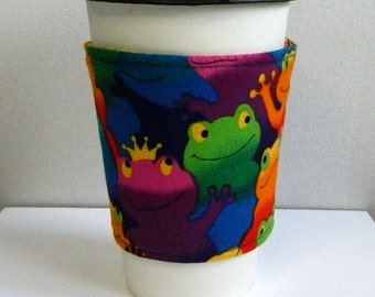 Coffee Cup Sleeve Cozy Take Out Cup Cozy Fabric Coffee Cup Sleeve Froggie Coffee Cup Sleeve Hand Made
