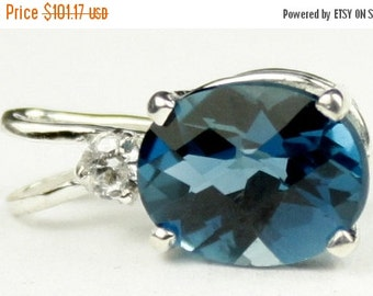 Valentines Sale 30% Off, SP020, 10x8mm, 3.3 ct London Blue Topaz, 925 Sterling Silver Pendant
