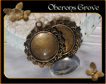 2  bronze settings, sunny, with 20mm cabochons