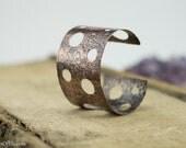 Copper cuff bracelet, hammered, textured, patina copper, nickel free