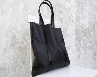 Large Leather Tote Bag/Large Black Leather Tote/Big Leather Shoulder Bag