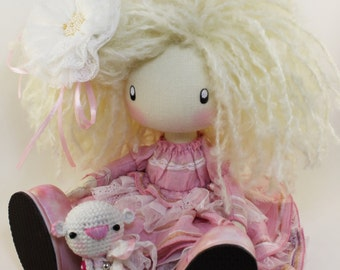 Cute Doll Leylay MADE TO ORDER Milk Pink Handmade Gifts for mom Textile doll Fabric doll Rose doll Soft doll Cloth Collectable Rag doll