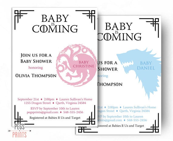 dragon baby shower invitation game of thrones baby shower invitation