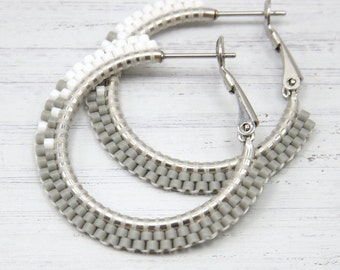 Fading Gray Beaded Hoop Earrings - Small Gray Beaded Hoop Earrings - Gray Hoop Earrings - Jewelry Gift for Her