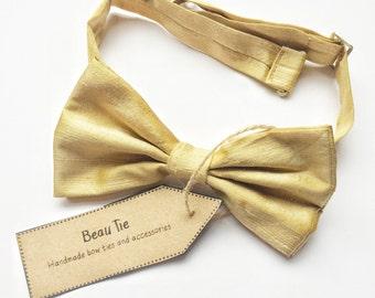Mens bow tie silk, silk bow tie, gold bow tie, golden yellow bow tie, wedding bow tie