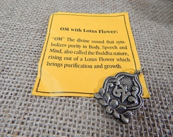 Tibetan Om with Lotus Flower Silver Plated Brass Pendant