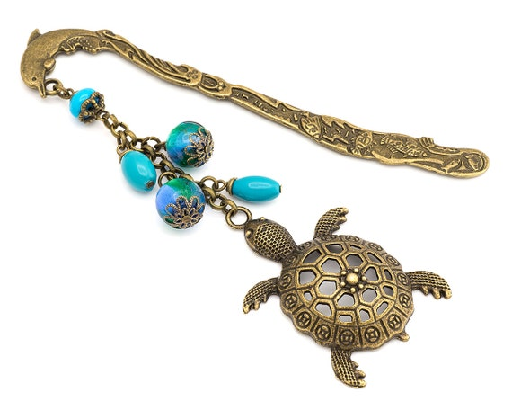 Bronze Turtle And Dolphin Bookmark Beaded Unique Metal Bookmark Turquoise Blue Bookmark Gift Sea Theme Bookmark Turtle Gift Unisex