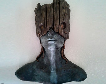 Tribal Forest Dweller sculpture, female bust, mask art, fairytale art, primitive art, Native girl, (Bronze patina and Wood with moss detail)