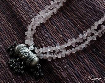 Rose Quartz Silver Necklace.