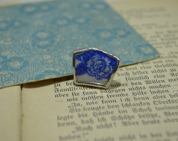 Porcelain ring with the blue flower