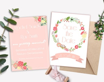 Spring Dream Save the Date cards. Floral. Wedding. Blush. Pink. Invitations and other items also available